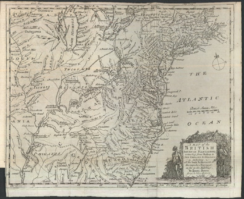 1754 Map Of The British Colonies In North America And Account Of
