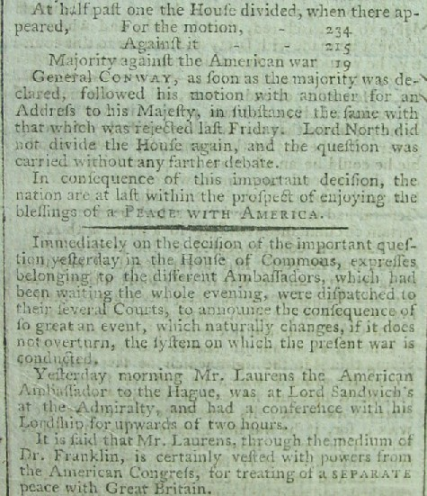 1782 Vote Of British Parliament Ending American War Effectively