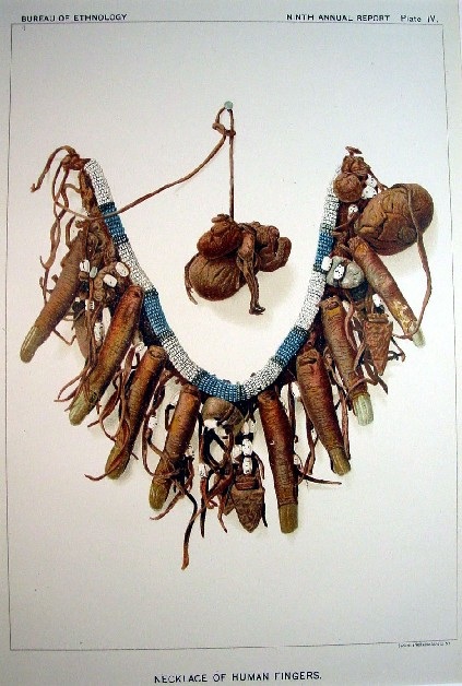 Cheyenne Necklace Of Human Fingers Lithograpth From Bureau